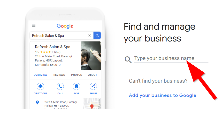 Google My Business page with a red arrow pointing to the find and manage your business option